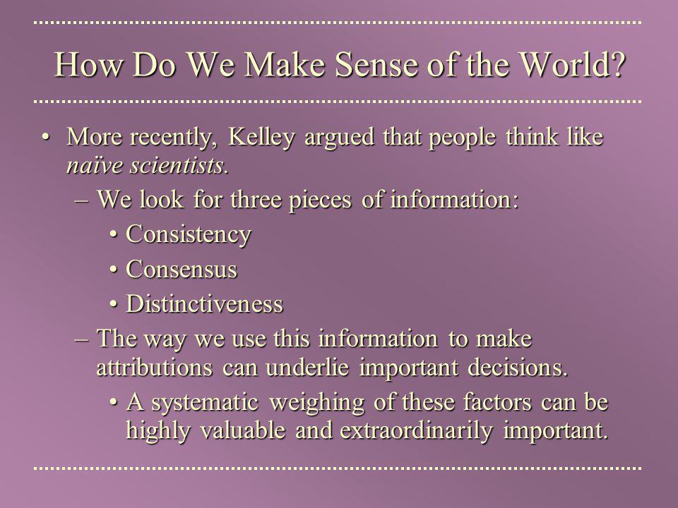 How Do We Make Sense of the World.