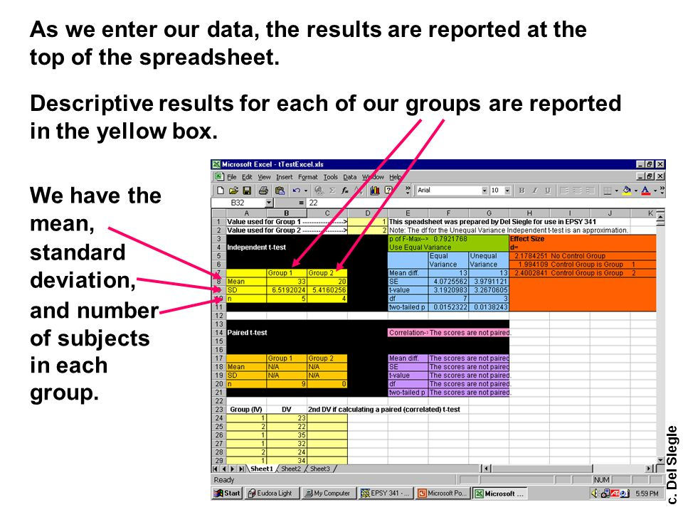c.Del Siegle As we enter our data, the results are reported at the top of the spreadsheet.