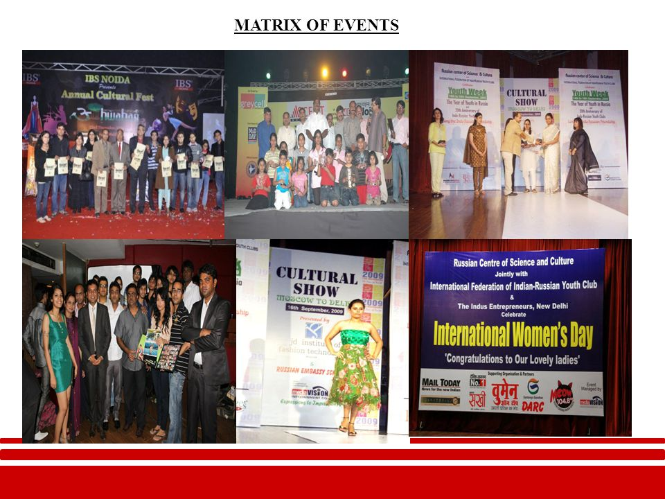 Few of our Clients/Assignments Musical Concert/Show by Siddarth Mohan in 2009 Strategy Advisory Services to Siddarth Mohan in 2011 PR of Book Launch by President of Mauritius in 2010 PR of achievement of Penaz Masani in 2009 PR for fashion design & strategy association with Claudia Ciasla in 2010 PR of India International Pet Fair in 2009 Strategy Support Services in INDIAN SUPER MODEL in 2010 & 2011 International Women's Day Celebration in 2009,2010 & 2011