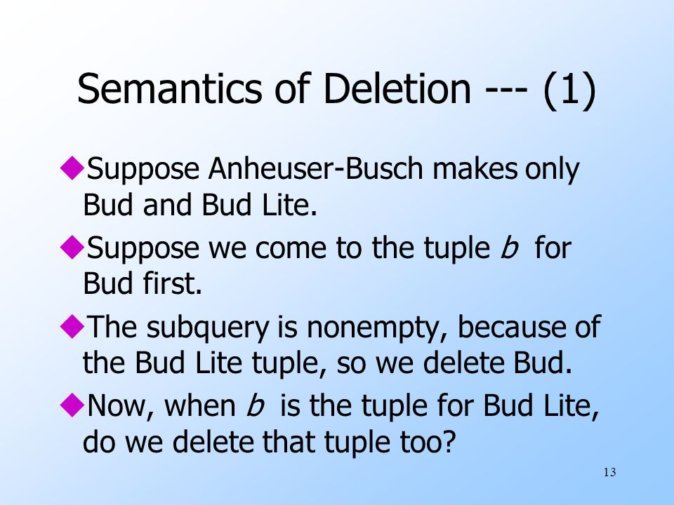 13 Semantics of Deletion --- (1) uSuppose Anheuser-Busch makes only Bud and Bud Lite.
