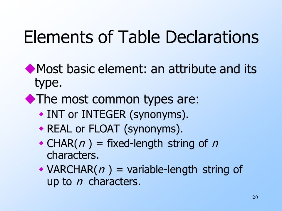 20 Elements of Table Declarations uMost basic element: an attribute and its type.