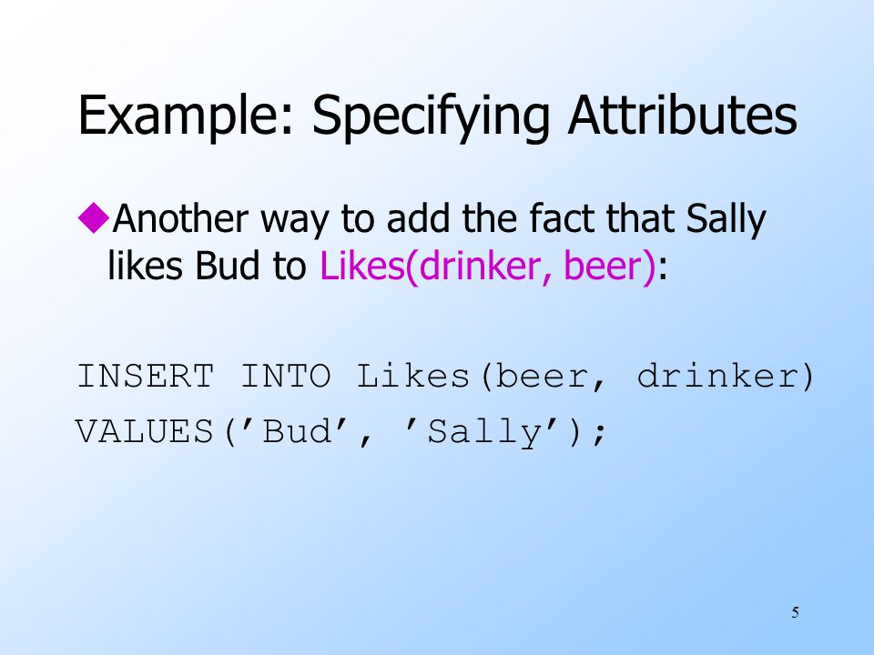 26 Declaring Multiattribute Keys uA key declaration can also be another element in the list of elements of a CREATE TABLE statement.