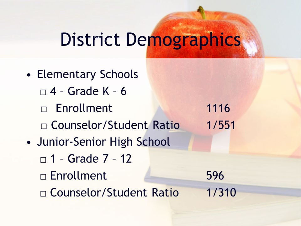 District Demographics Elementary Schools □ 4 – Grade K – 6 □Enrollment1116 □ Counselor/Student Ratio1/551 Junior-Senior High School □ 1 – Grade 7 – 12