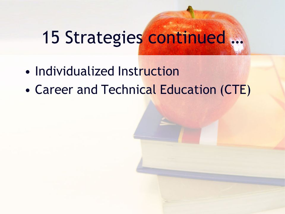 15 Strategies continued … Individualized Instruction Career and Technical Education (CTE)