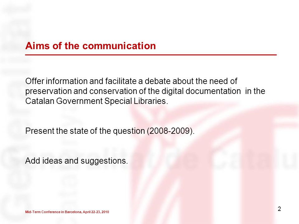 3 2006: Creation of the working groups of the Catalan Government Special Libraries (BEG).