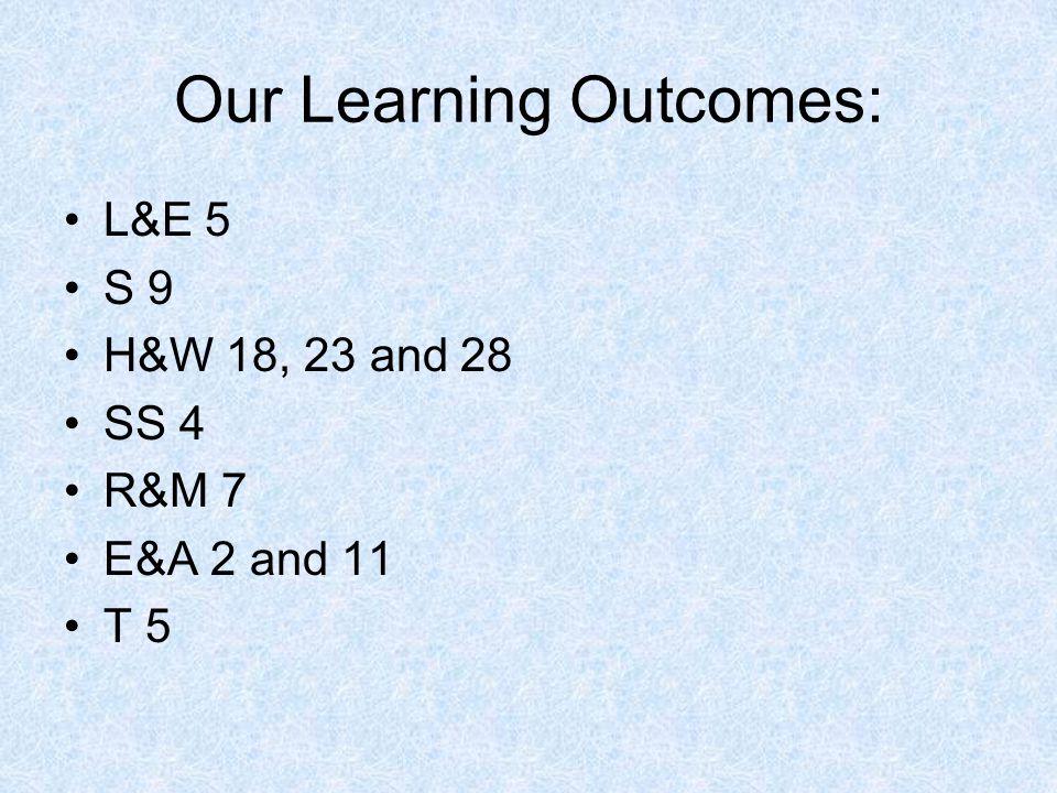 Our Learning Outcomes: L&E 5 S 9 H&W 18, 23 and 28 SS 4 R&M 7 E&A 2 and 11 T 5