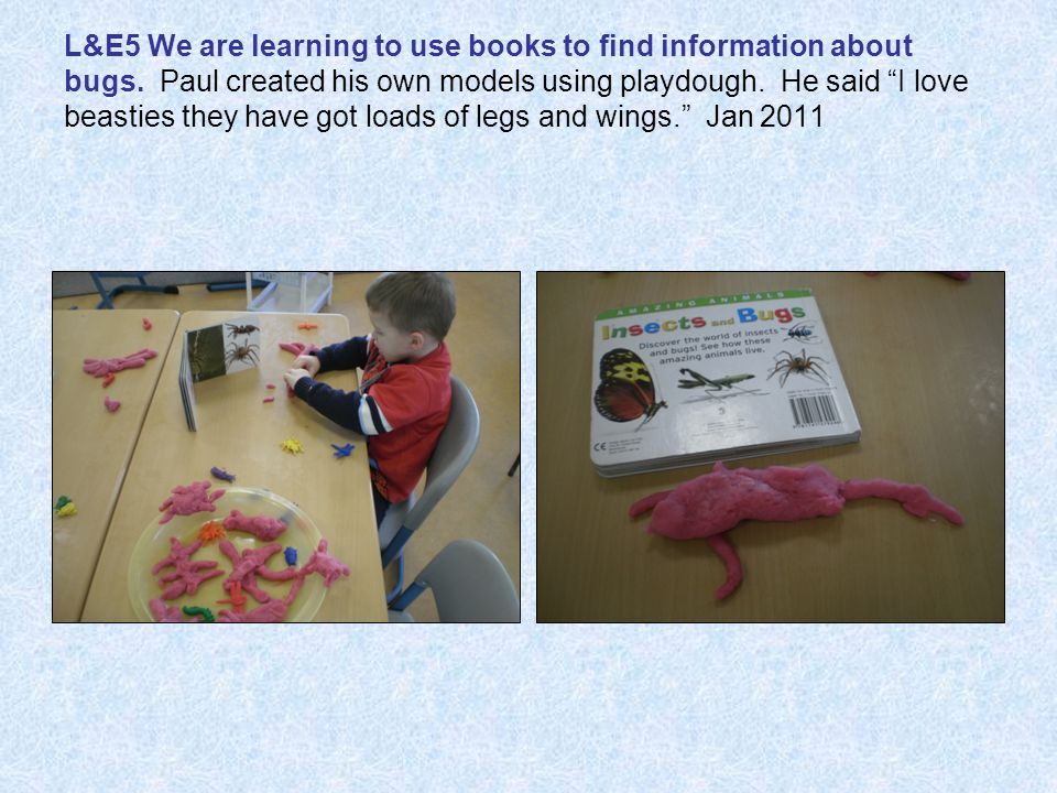 L&E5 We are learning to use books to find information about bugs.