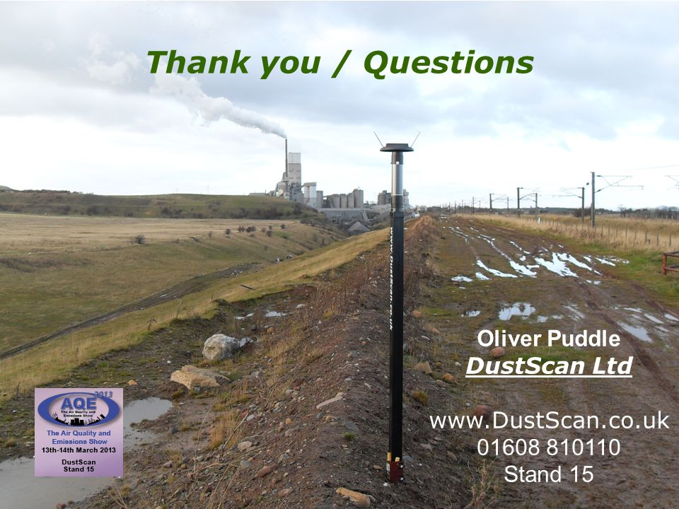 Thank you / Questions Oliver Puddle DustScan Ltd www.DustScan.co.uk 01608 810110 Stand 15
