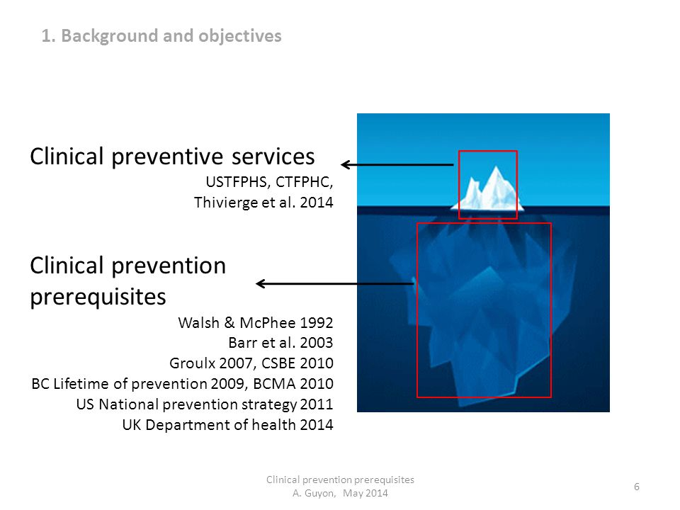 Clinical prevention prerequisites A. Guyon, May 2014 6 Clinical preventive services USTFPHS, CTFPHC, Thivierge et al. 2014 Clinical prevention prerequ