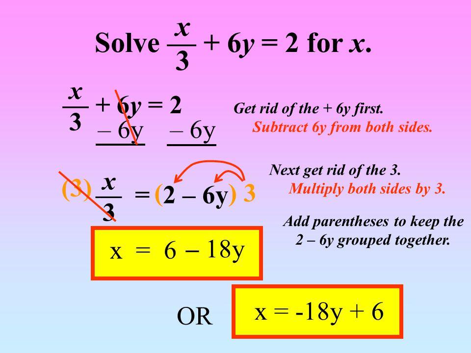 ax + b = y – b – b Subtract b from both sides.