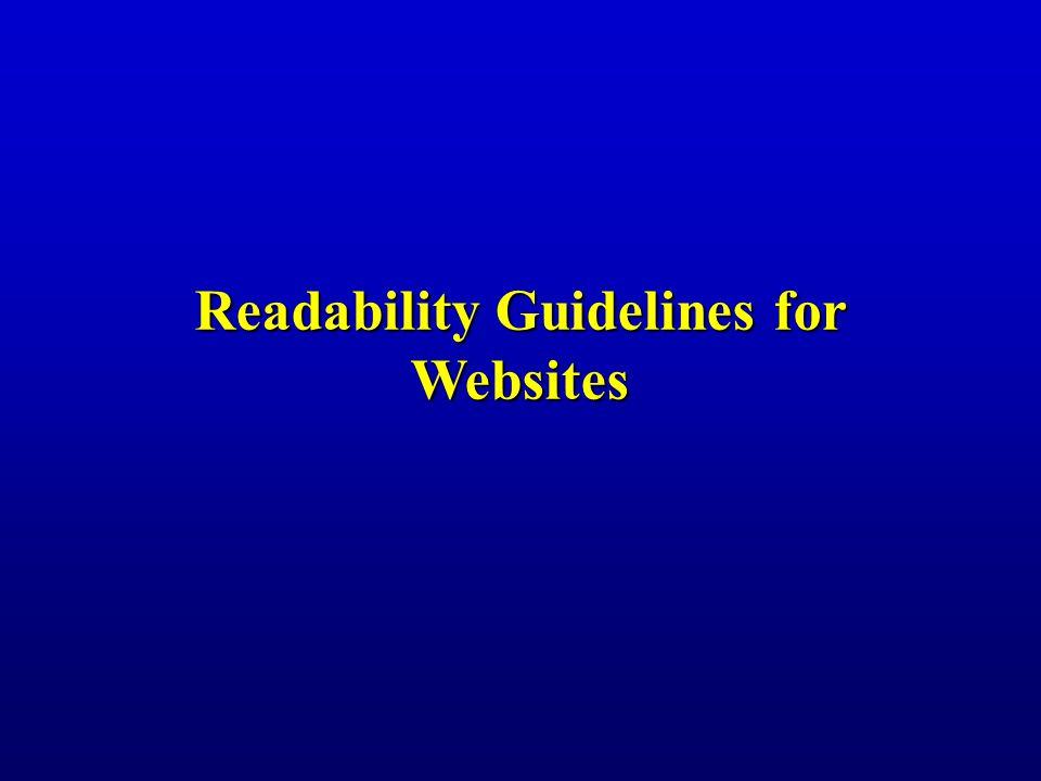 Readability Guidelines for Websites
