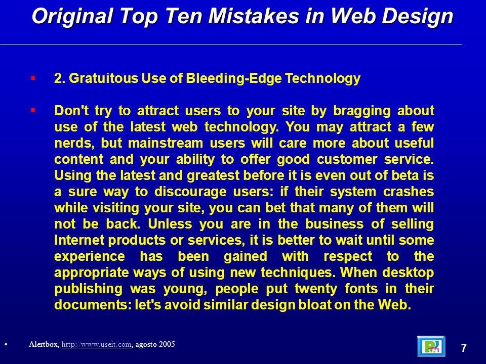 Top Ten Web Design Mistakes of 2003