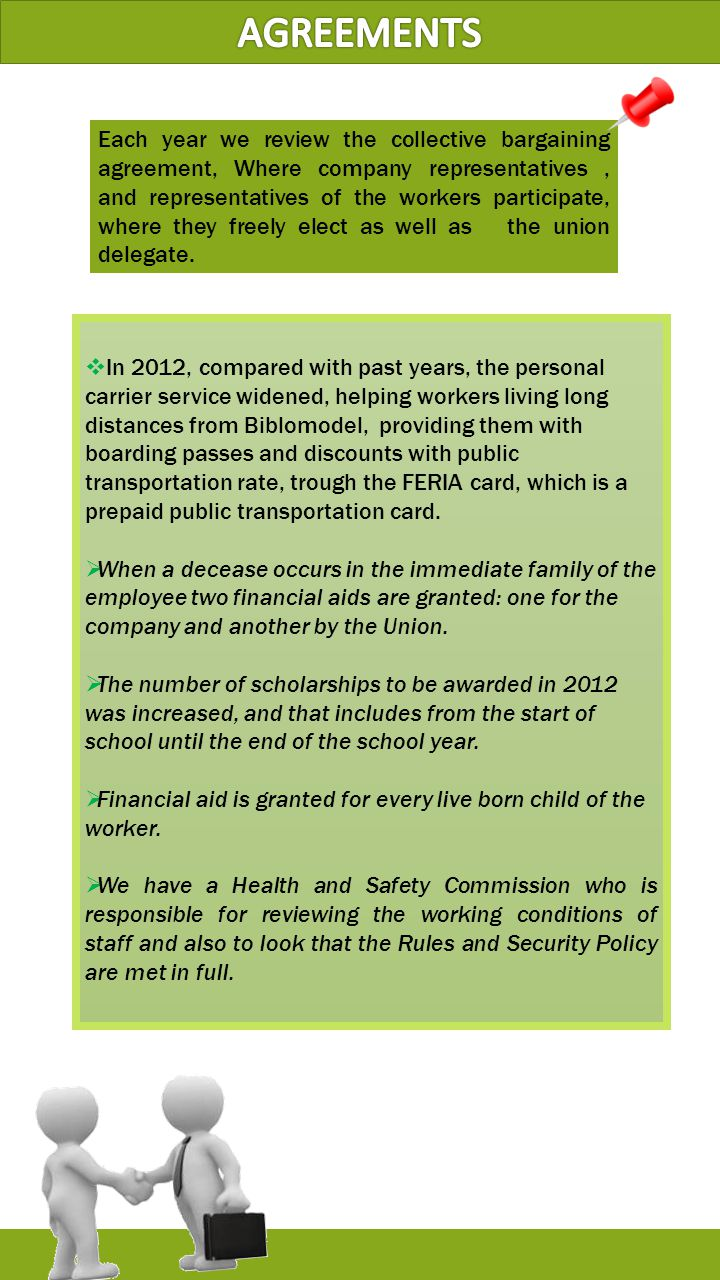  In 2012, compared with past years, the personal carrier service widened, helping workers living long distances from Biblomodel, providing them with boarding passes and discounts with public transportation rate, trough the FERIA card, which is a prepaid public transportation card.
