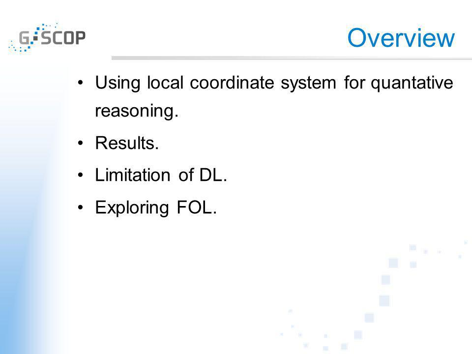 Overview Using local coordinate system for quantative reasoning. Results. Limitation of DL. Exploring FOL.