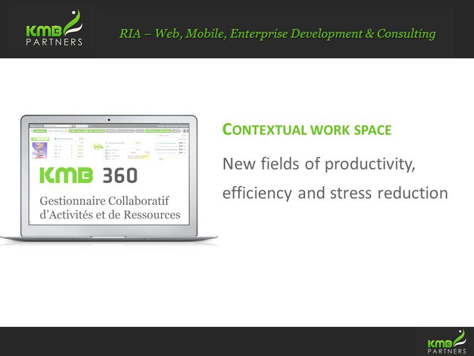 KMB Partners : Si è ge social : 2 ave Rombeau – 84500 Boll è neSAS au capital de : 40000 euros R.C.S : Boll è ne 480 917 012 Si è ge Commercial : 32, rue du Fbg Poissonni è re – 75010 Paris T é l : 01.79.30.24.18 Fax : 01.70.24.72.19 C ONTEXTUAL WORK SPACE New fields of productivity, efficiency and stress reduction