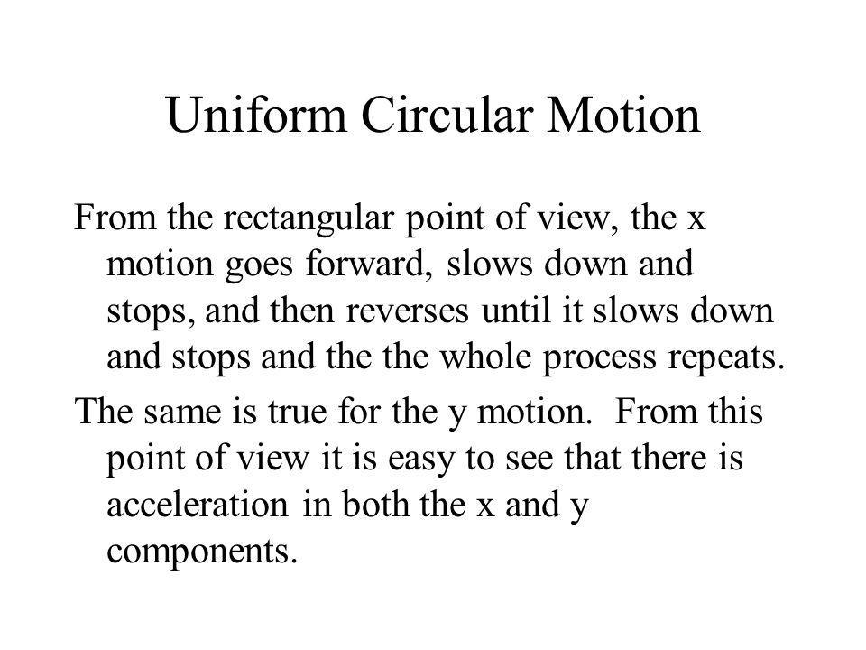Uniform Circular Motion From the rectangular point of view, the x motion goes forward, slows down and stops, and then reverses until it slows down and