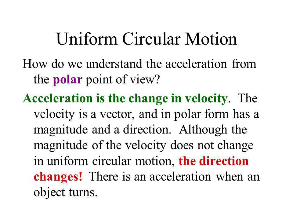 Uniform Circular Motion How do we understand the acceleration from the polar point of view? Acceleration is the change in velocity. The velocity is a