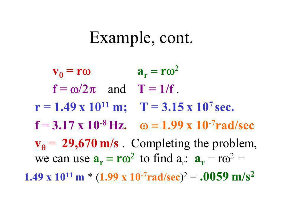 Example, cont. v  = r  a r  r   f =  and  T = 1/f. r = 1.49 x 10 11 m; T = 3.15 x 10 7 sec. f = 3.17 x 10 -8 Hz.  1.99 x 10 -7 rad/sec