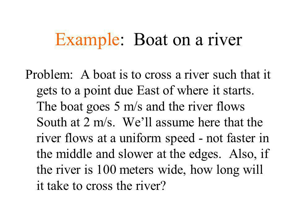 Example: Boat on a river Problem: A boat is to cross a river such that it gets to a point due East of where it starts. The boat goes 5 m/s and the riv