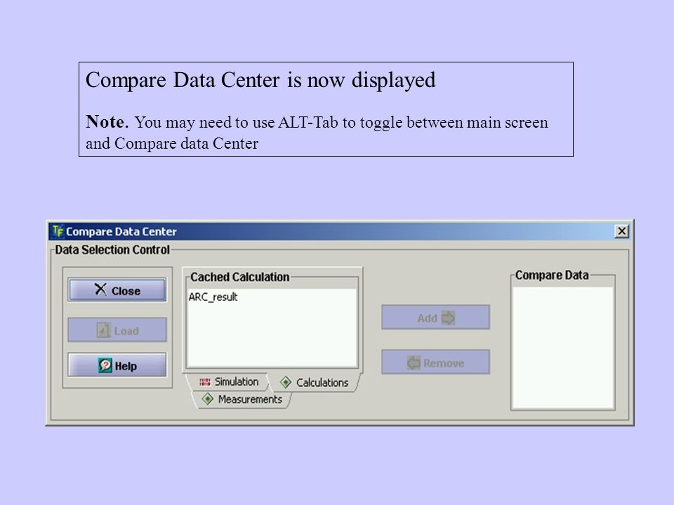 Compare Data Center is now displayed Note.