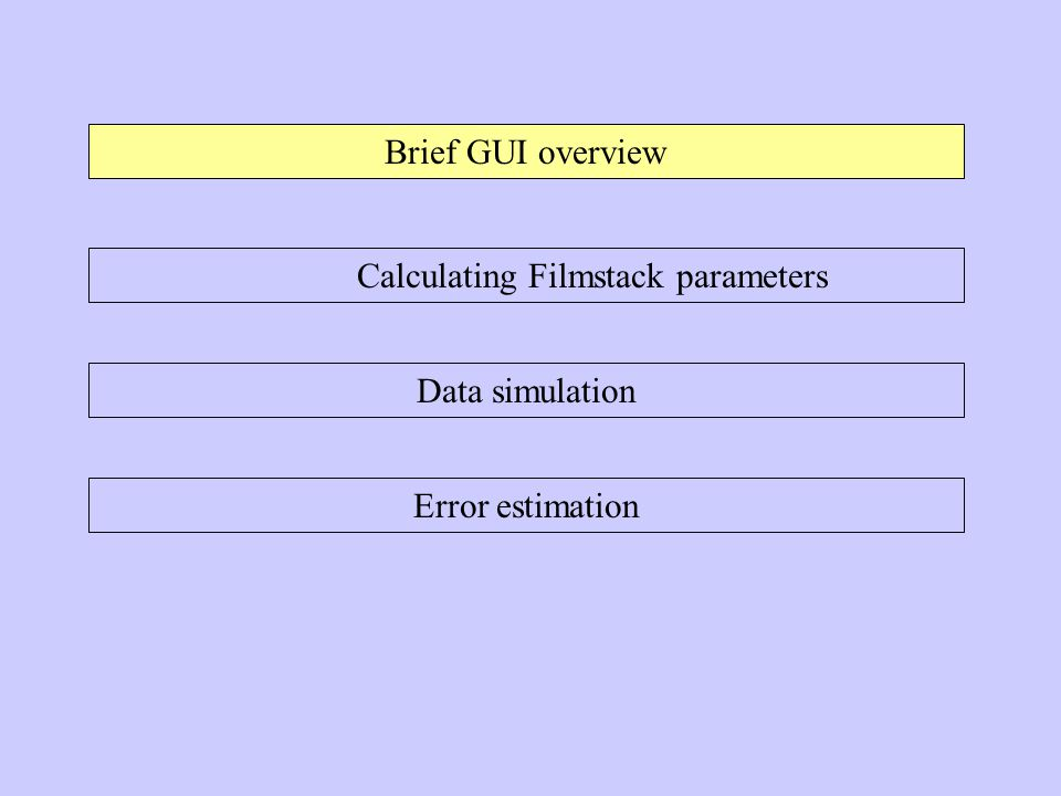 Brief GUI overview Calculating Filmstack parameters Data simulation Error estimation