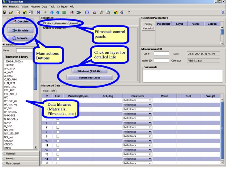 Brief GUI overview (cont.) We will review details of the GUI using several examples: Calculation Simulation Error estimation
