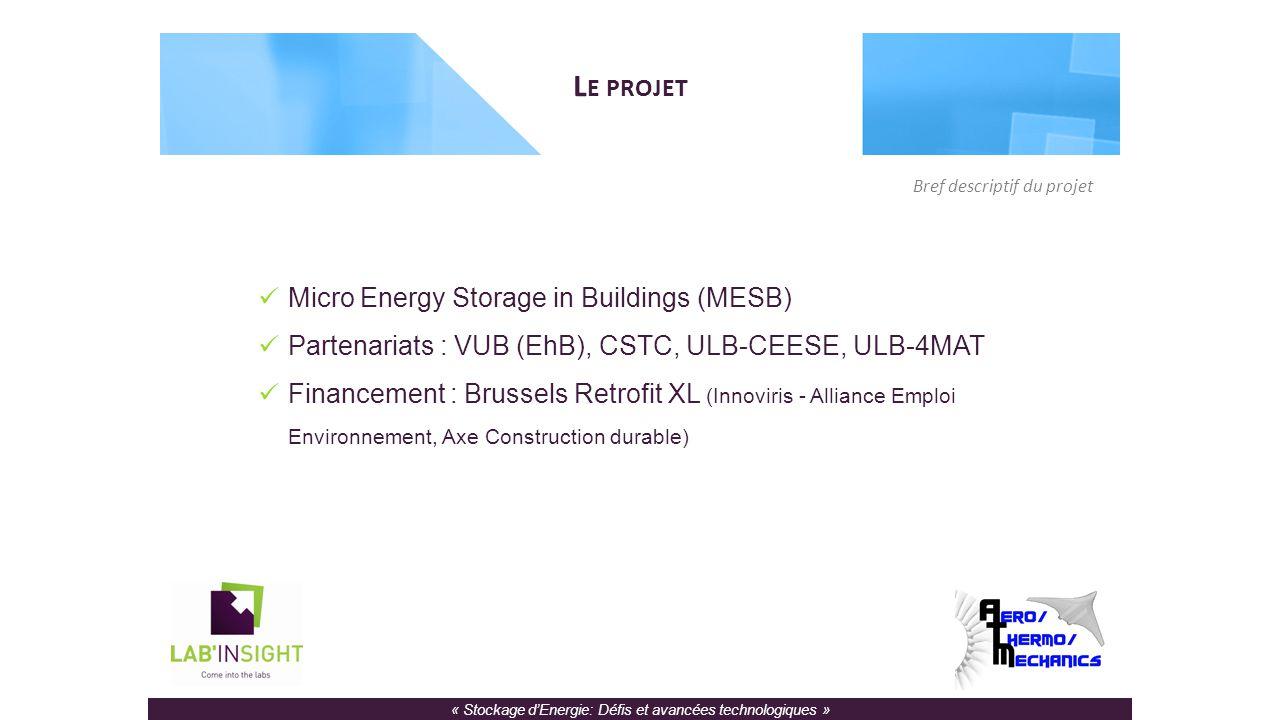 « Stockage d'Energie: Défis et avancées technologiques » L E PROJET Micro Energy Storage in Buildings (MESB) Partenariats : VUB (EhB), CSTC, ULB-CEESE, ULB-4MAT Financement : Brussels Retrofit XL (Innoviris - Alliance Emploi Environnement, Axe Construction durable) Bref descriptif du projet