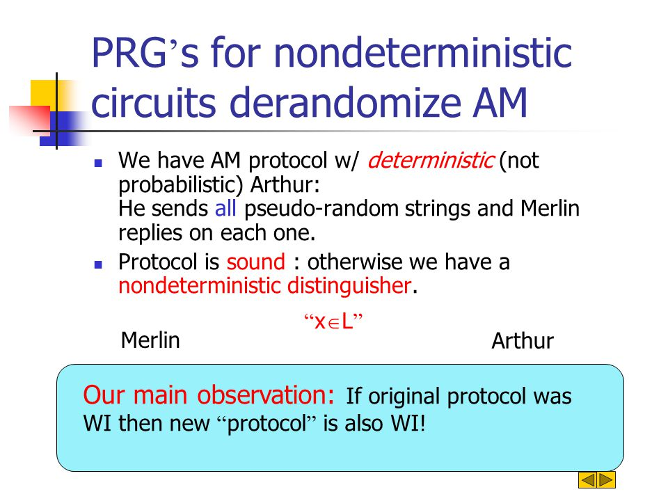 PRG ' s for nondeterministic circuits derandomize AM We have AM protocol w/ deterministic (not probabilistic) Arthur: He sends all pseudo-random strin