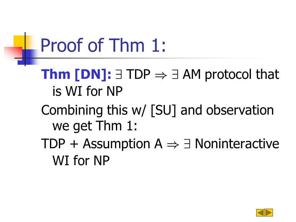 Proof of Thm 1: Thm [DN]: 9 TDP ) 9 AM protocol that is WI for NP Combining this w/ [SU] and observation we get Thm 1: TDP + Assumption A ) 9 Noninter