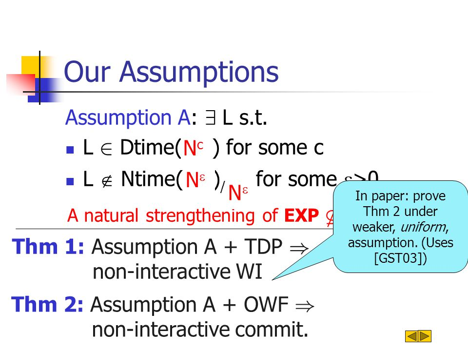 Our Assumptions Assumption A: 9 L s.t. L 2 Dtime(2 cn ) for some c L  Ntime(2  n ) / 2  n for some  >0 A natural strengthening of EXP * NP NcNc N