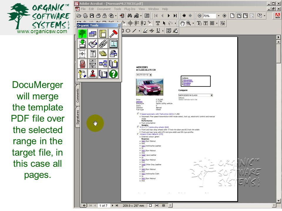 www.organicsw.com DocuMerger will merge the template PDF file over the selected range in the target file, in this case all pages.