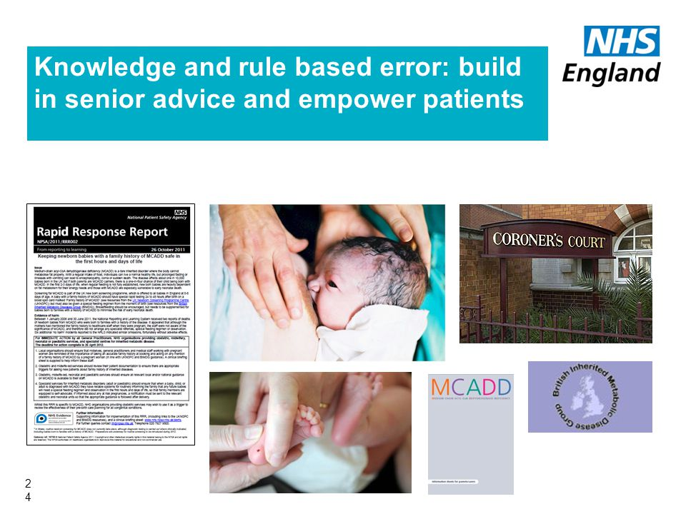 Knowledge and rule based error: build in senior advice and empower patients 24