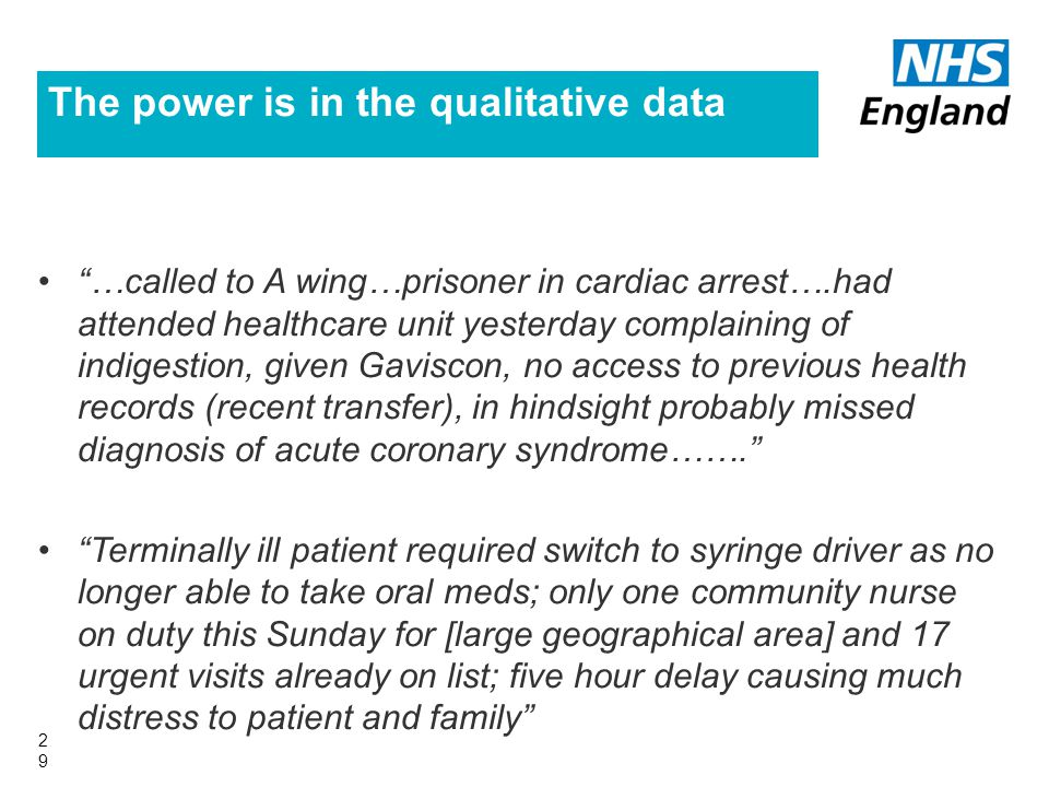 The power is in the qualitative data 29 …called to A wing…prisoner in cardiac arrest….had attended healthcare unit yesterday complaining of indigestion, given Gaviscon, no access to previous health records (recent transfer), in hindsight probably missed diagnosis of acute coronary syndrome……. Terminally ill patient required switch to syringe driver as no longer able to take oral meds; only one community nurse on duty this Sunday for [large geographical area] and 17 urgent visits already on list; five hour delay causing much distress to patient and family
