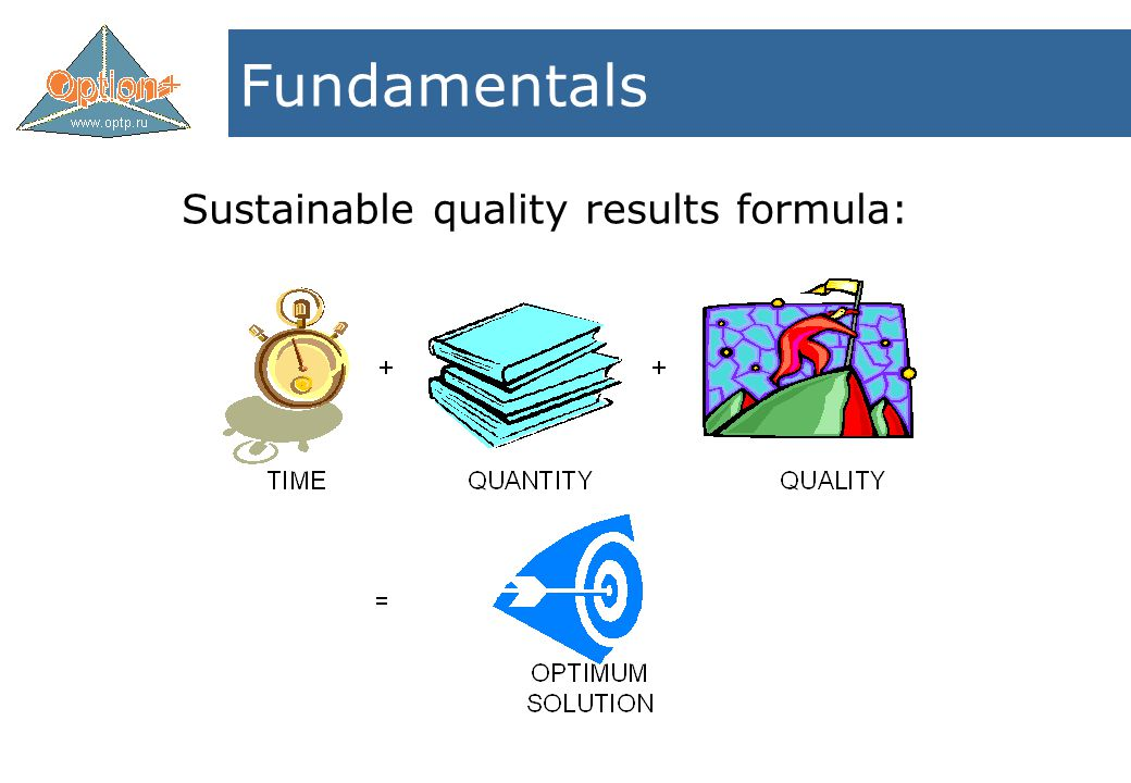 Sustainable quality results formula: Fundamentals