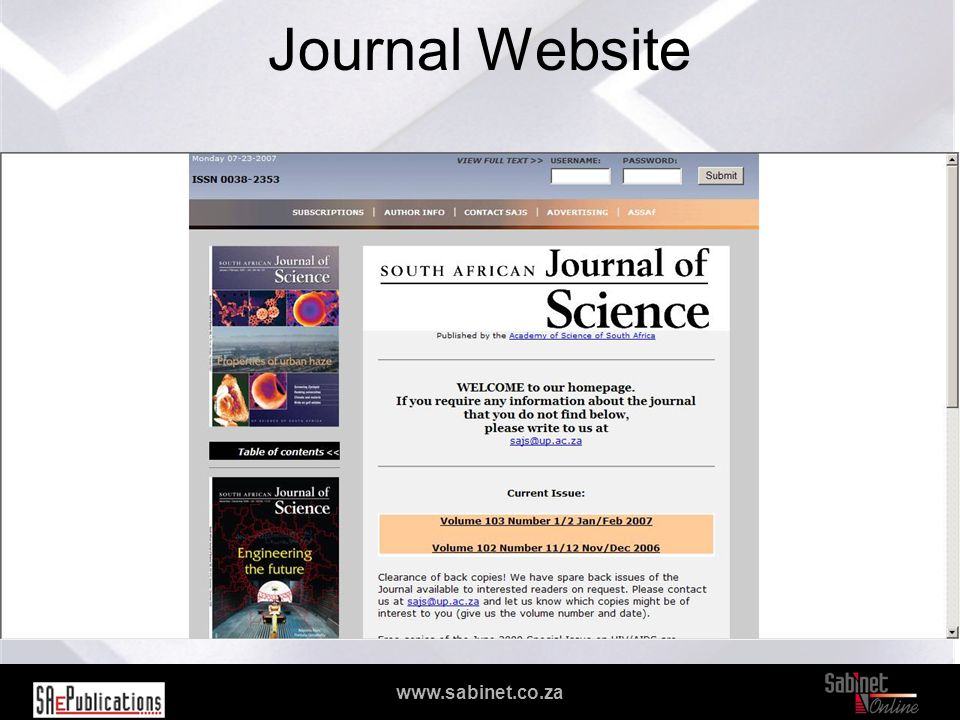 We facilitate access to information www.sabinet.co.za Journal Website