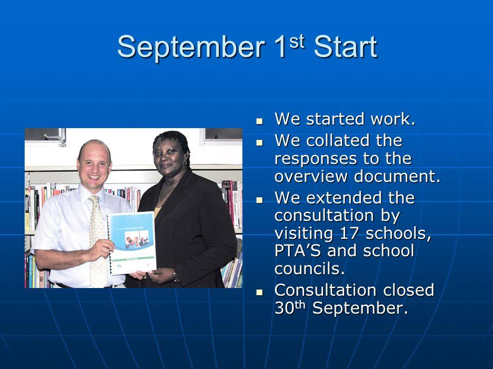 September 1 st Start We started work.We started work.