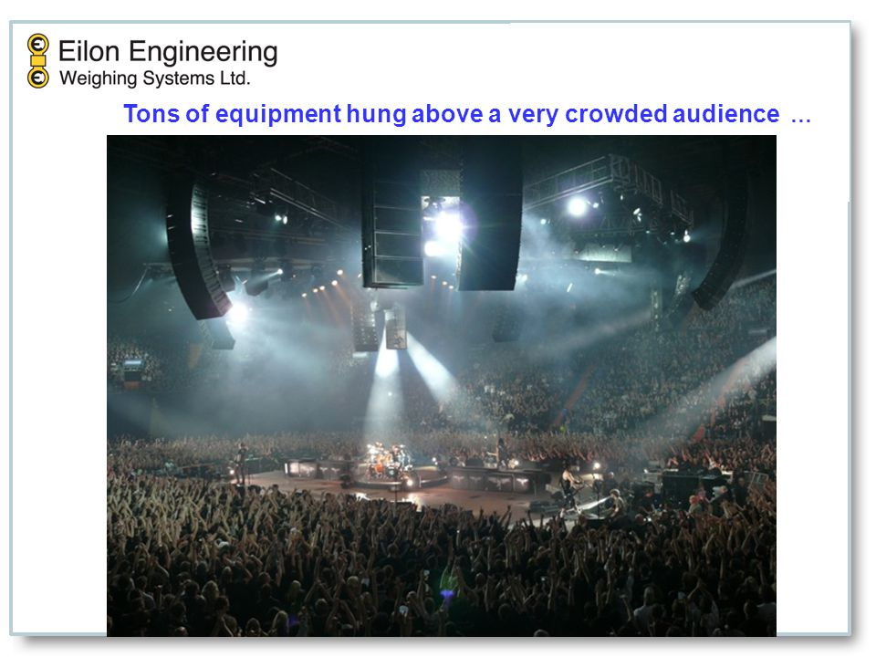 Tons of equipment hung above a very crowded audience …