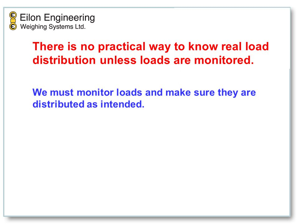 There is no practical way to know real load distribution unless loads are monitored.
