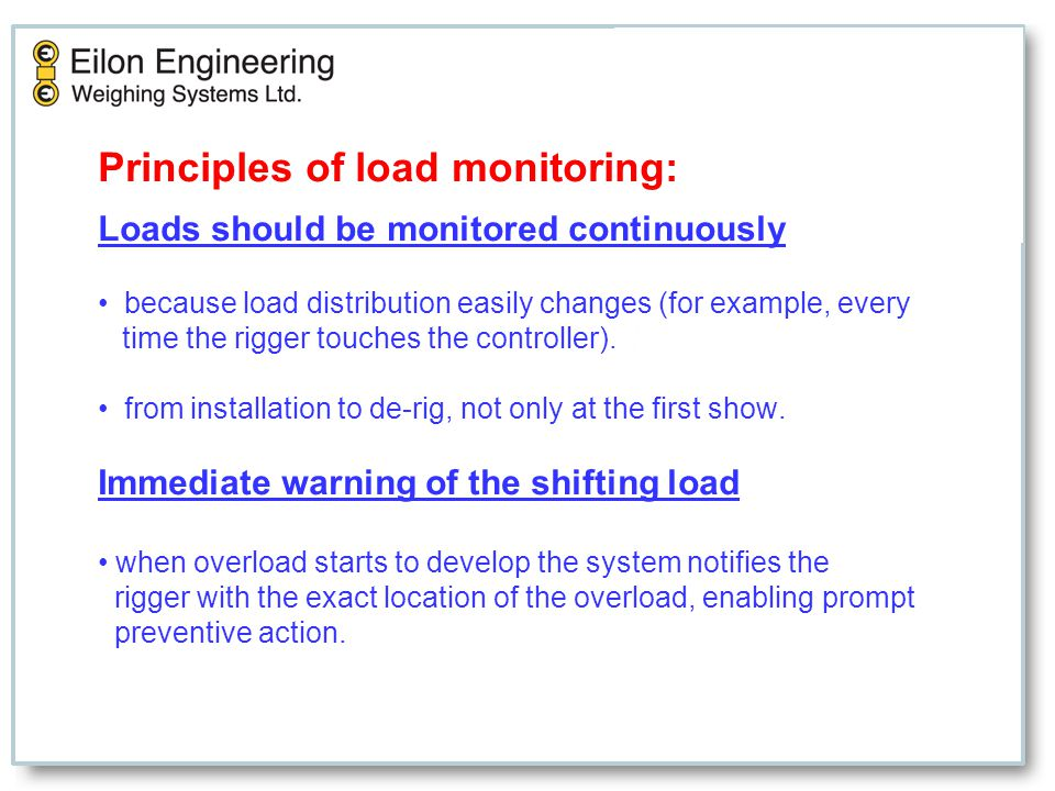 Principles of load monitoring: Loads should be monitored continuously because load distribution easily changes (for example, every time the rigger touches the controller).