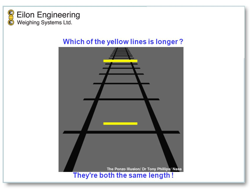 Which of the yellow lines is longer They re both the same length!