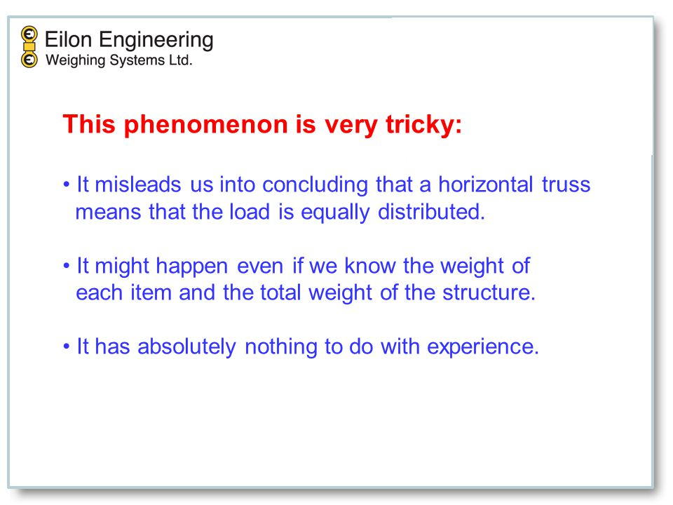 This phenomenon is very tricky: It misleads us into concluding that a horizontal truss means that the load is equally distributed. It might happen eve