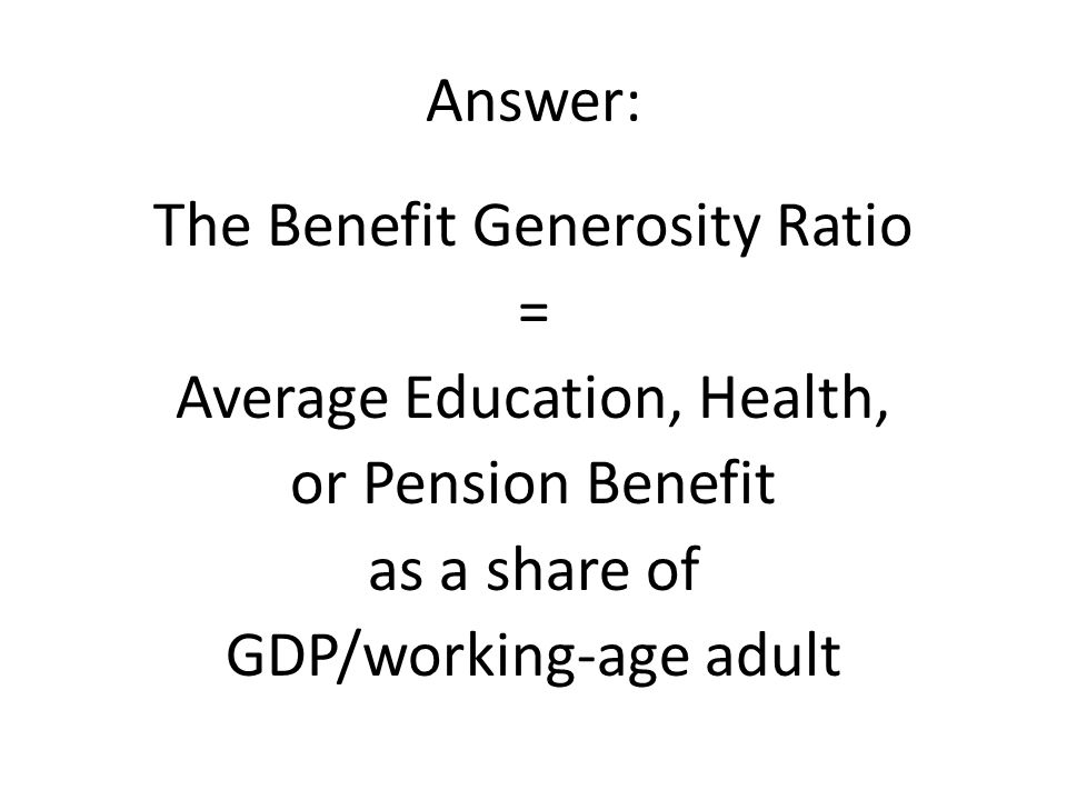 Answer: The Benefit Generosity Ratio = Average Education, Health, or Pension Benefit as a share of GDP/working-age adult