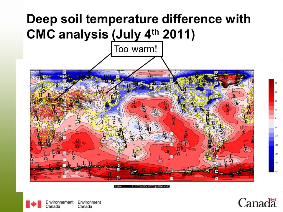 Deep soil temperature difference with CMC analysis (July 4 th 2011) Too warm!