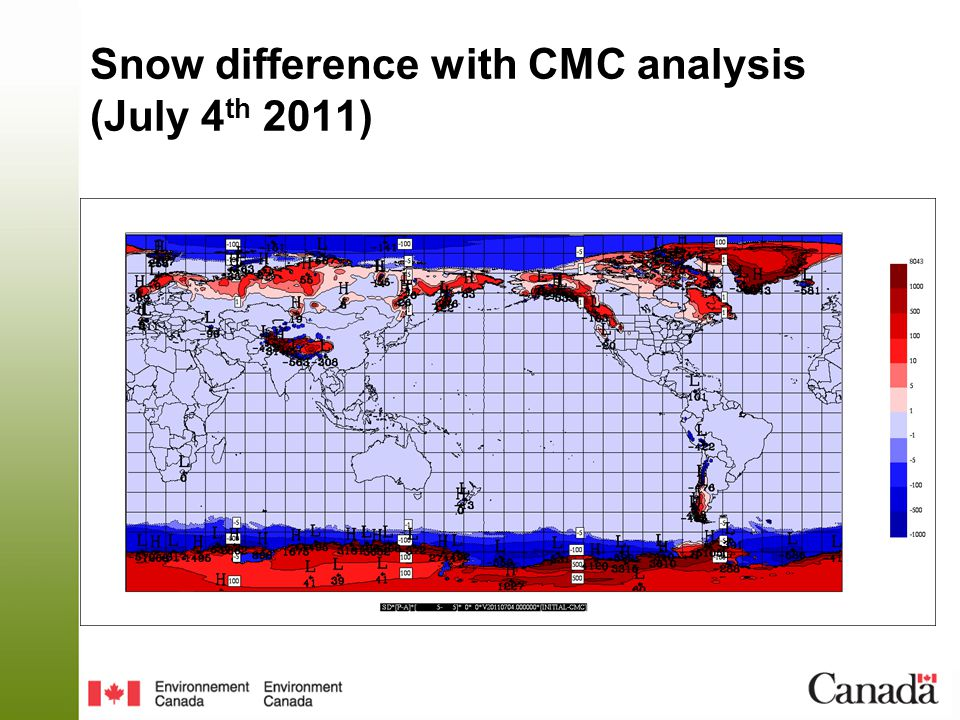 Snow difference with CMC analysis (July 4 th 2011)