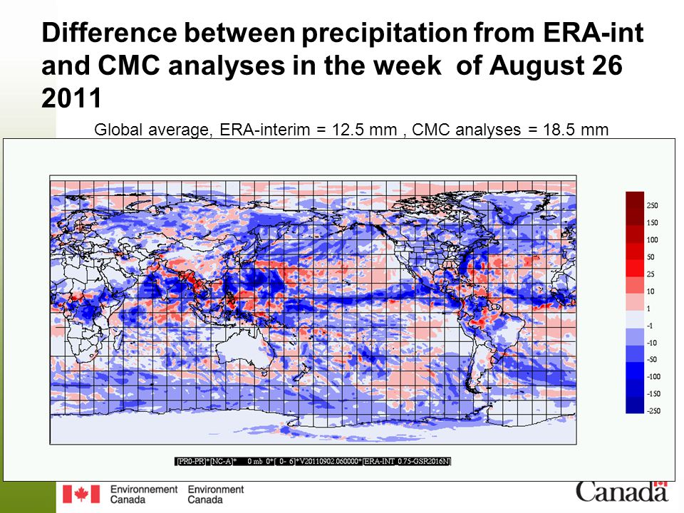 Difference between precipitation from ERA-int and CMC analyses in the week of August 26 2011 Global average, ERA-interim = 12.5 mm, CMC analyses = 18.