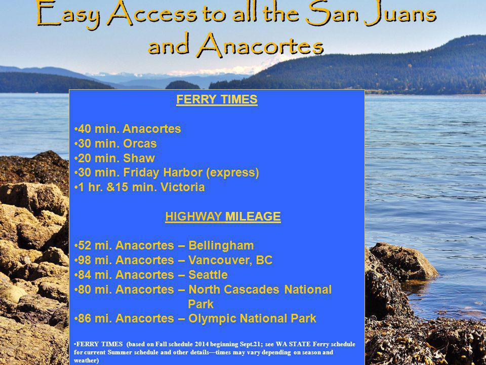 Easy Access to all the San Juans and Anacortes FERRY TIMES 40 min.