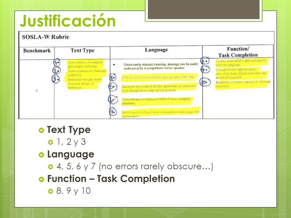 Justificación  Text Type  1, 2 y 3  Language  4, 5, 6 y 7 (no errors rarely obscure…)  Function – Task Completion  8, 9 y 10