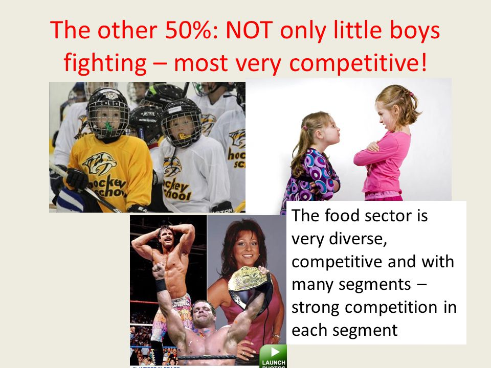 The other 50%: NOT only little boys fighting – most very competitive.