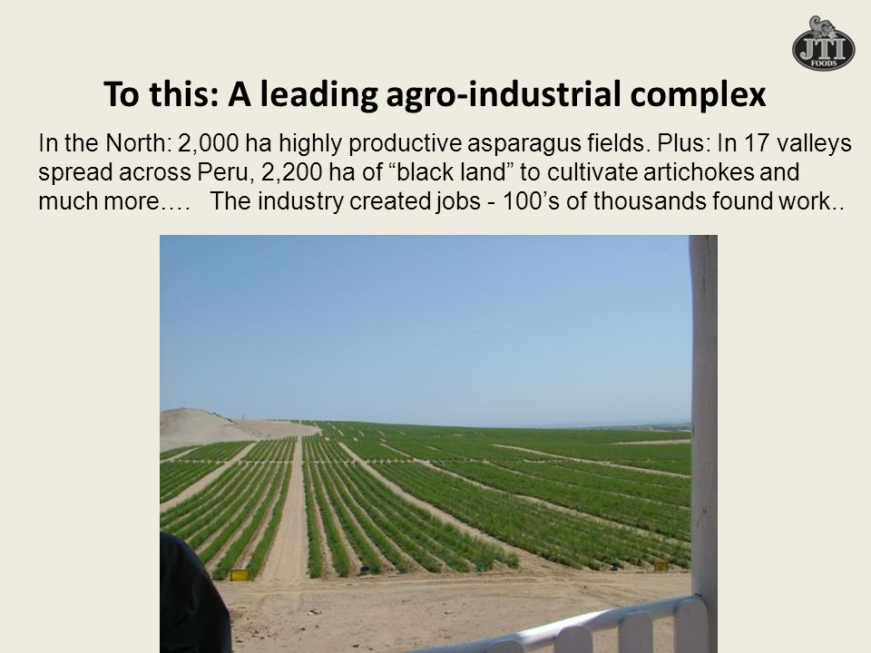 To this: A leading agro-industrial complex In the North: 2,000 ha highly productive asparagus fields.