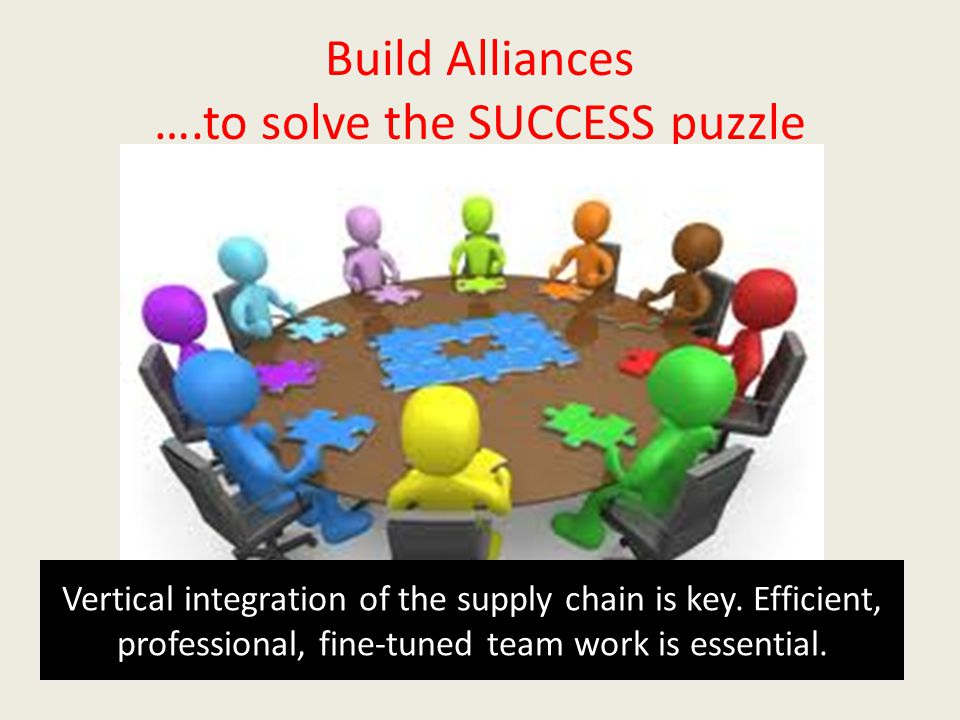 Build Alliances ….to solve the SUCCESS puzzle Vertical integration of the supply chain is key.